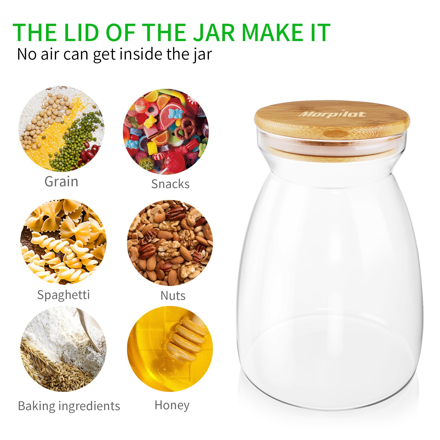 Morpilot Glass Storage Jars 1100ml for Tea Coffee Sugar Biscuit Storage,Clear Glass Food Storage Jar with Silicone Seal Ring Bamboo Lid by Morpilot (Image #5)