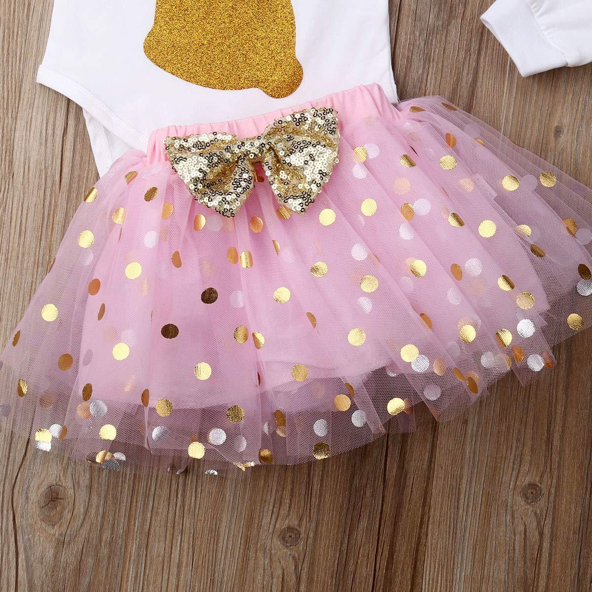 Dot Tulle Skirt Set 3PCS Newborn Infant Baby Girl Easter Outfit Summer Clothes Bunny Romper Leg Warmer