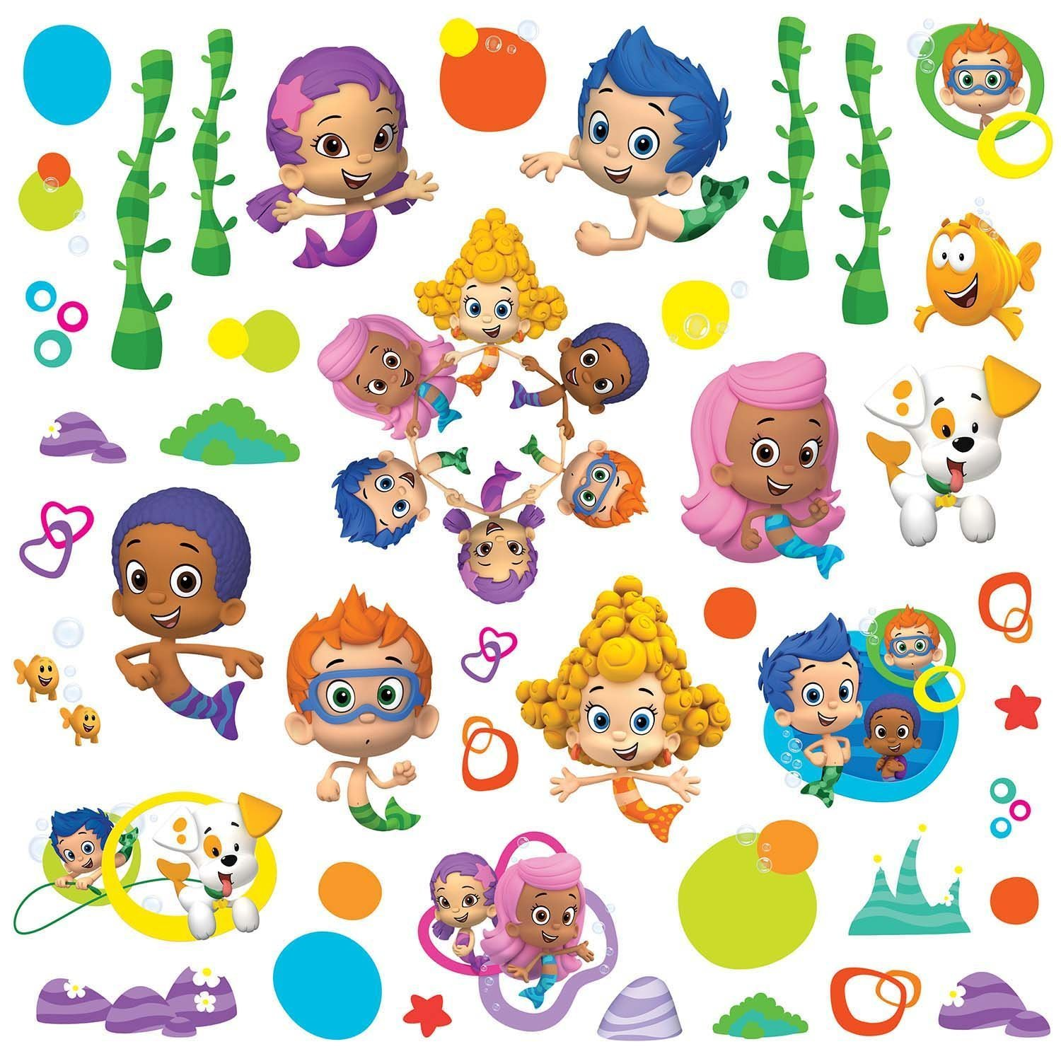 bubble guppies peel and stick wall decals amazon co uk kitchen