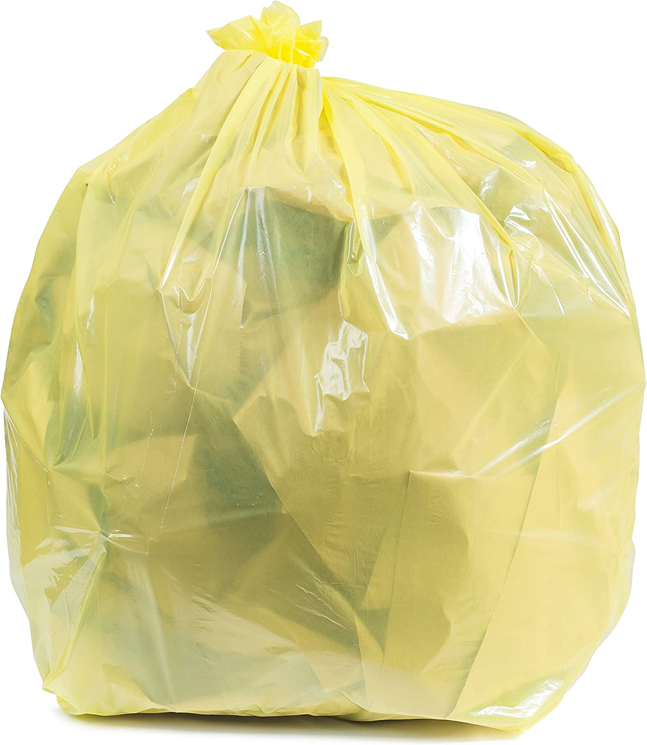 "Plasticplace 64-65 Gallon Trash Can Liners for Toter ¦ 1.5 Mil ¦ Yellow Heavy Duty Garbage Bags ¦ 50"" x 60"" (50 Count) (W65LDYTL)"