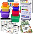 Efficient Nutrition Portion Control Containers Kit (7-Piece) + COMPLETE GUIDE + 21 DAY PLANNER + RECIPE eBOOK, BPA FREE Meal Prep System for Diet and Weight Loss, Similar to 21 Day Fix Containers