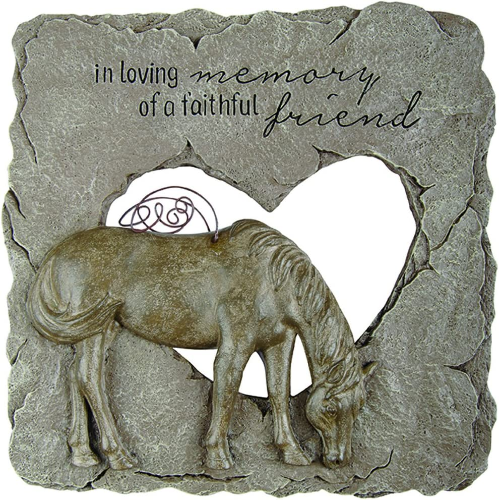 Carson Home Accents Outdoor Garden Sympathy Resin Animal Pet Memorial Stone with Devoted Angel Horse, Quote, and Heart Cutout, Gray