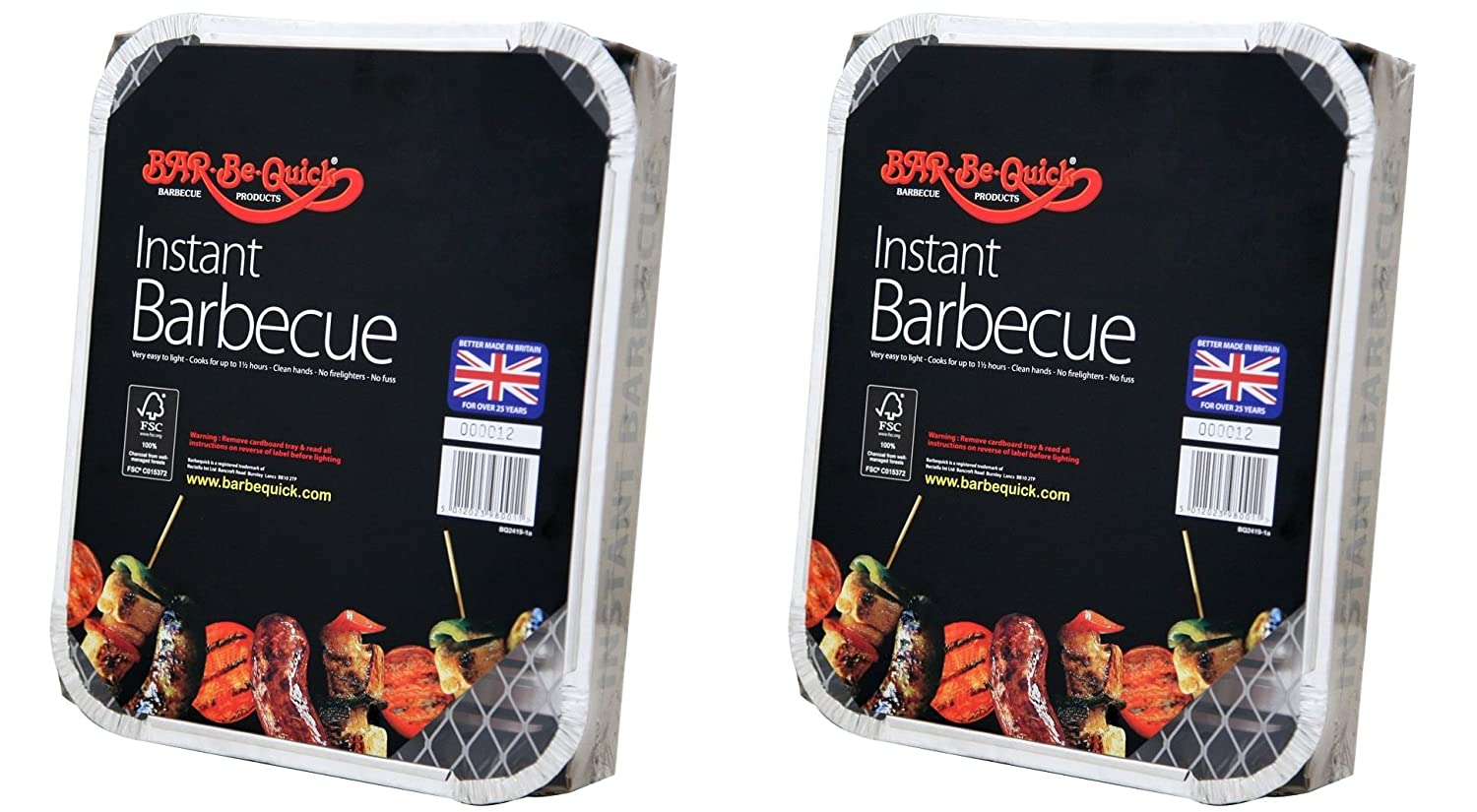 2 X Bar-Be-Quick Instant Barbecue packs- Each pack feeds 4 people-World's best brand leading disposable BBQ