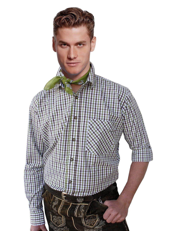 Top-Quality Trachtenhemd Herren - Grün/Braun-Karo/kariert - Langarm/Kurzarm - Komfort Baumwolle