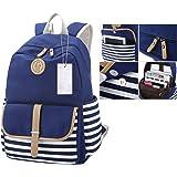 Itian Breton Français nautique rayé Backpack Sac à dos marin Marine Marine rayé cartables pour femme femmes filles(Bleu)
