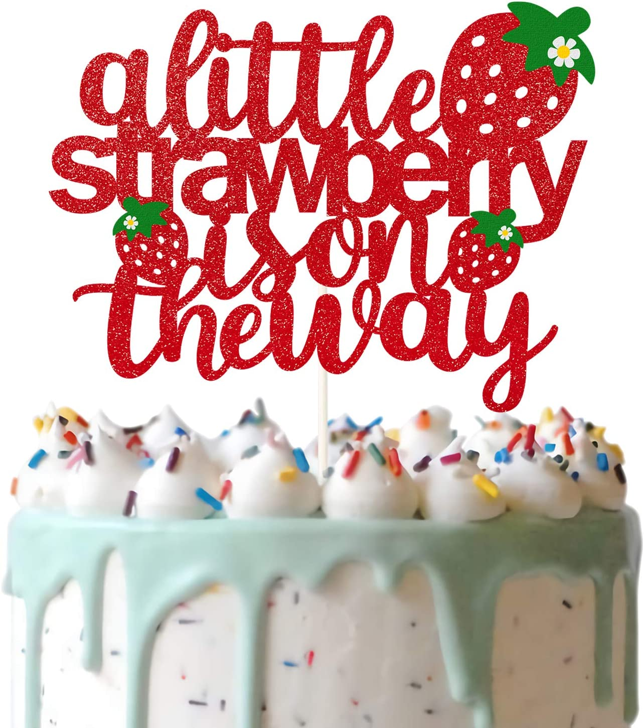 Glitter A Little Strawberry is on the Way Cake Topper, Strawberry Baby Shower Cake Decor, Summer Fruit Theme Gender Reveal Party, Garden Theme Pregnancy Announcement Supplies