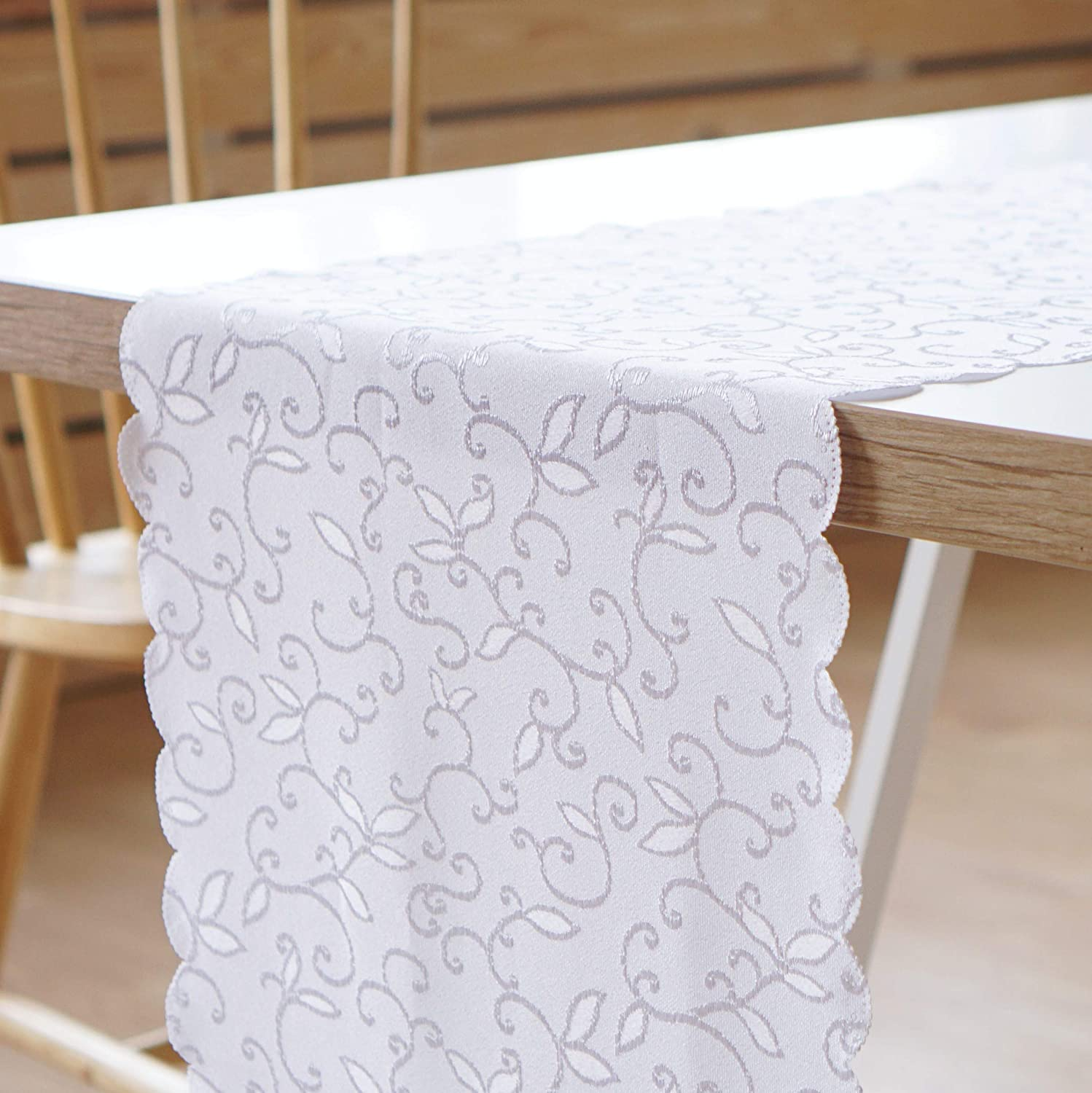"AHOLTA DESIGN Stain Resistant Turkish White Table Runner Polyester Table Linen - Washes Easily Non Iron - Thanksgiving Christmas New Year Eve Dinner (White, Tablerunner 14""x36"")"