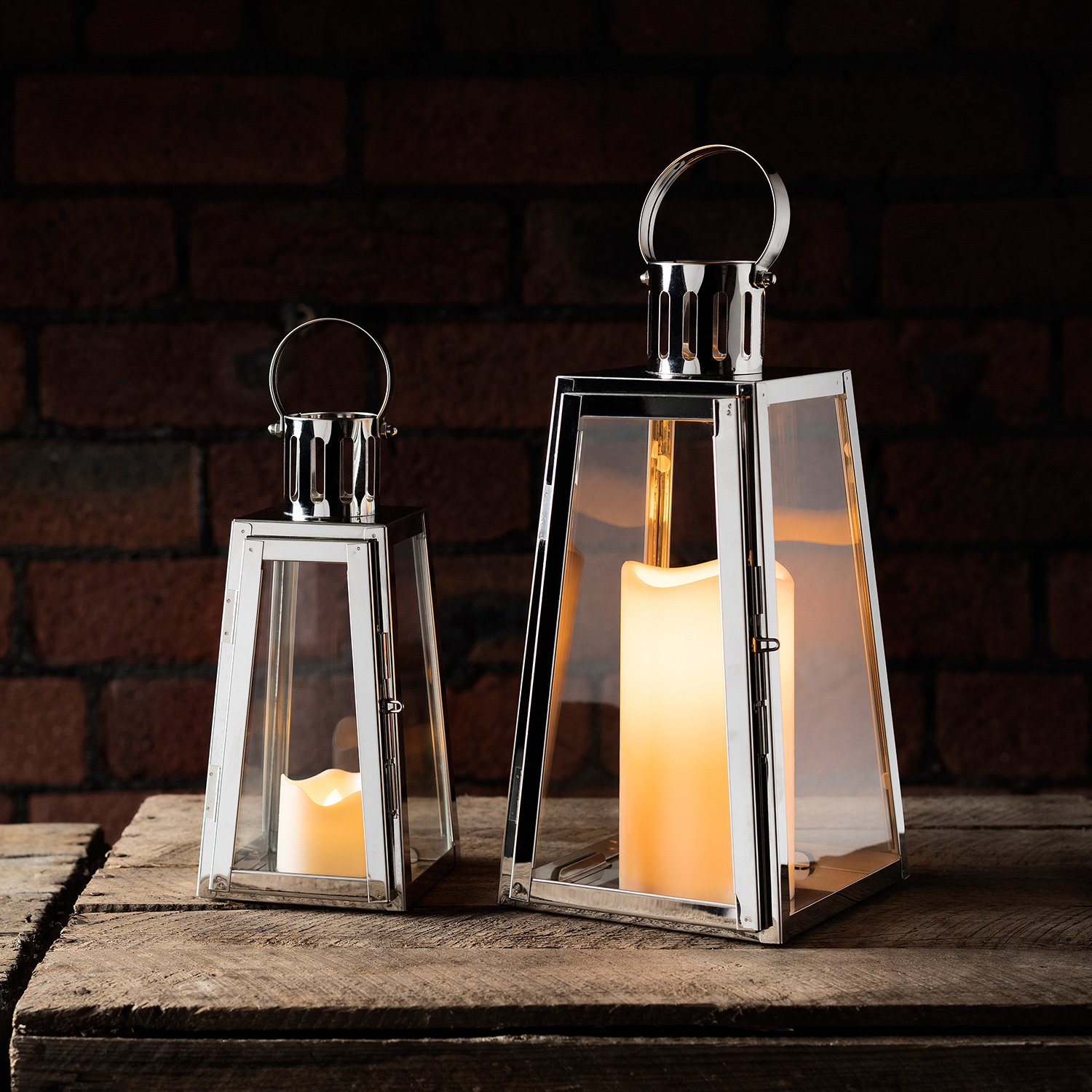 Lights4fun Set of 2 Stainless Steel Trapeze Battery Operated LED Candle Lanterns