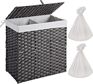 Greenstell Handwoven Laundry Hamper with 2 Removable Liner Bag, Synthetic Rattan Laundry Basket with Lid and Handles, Foldable and Easy to Install Gray (Larger Size)