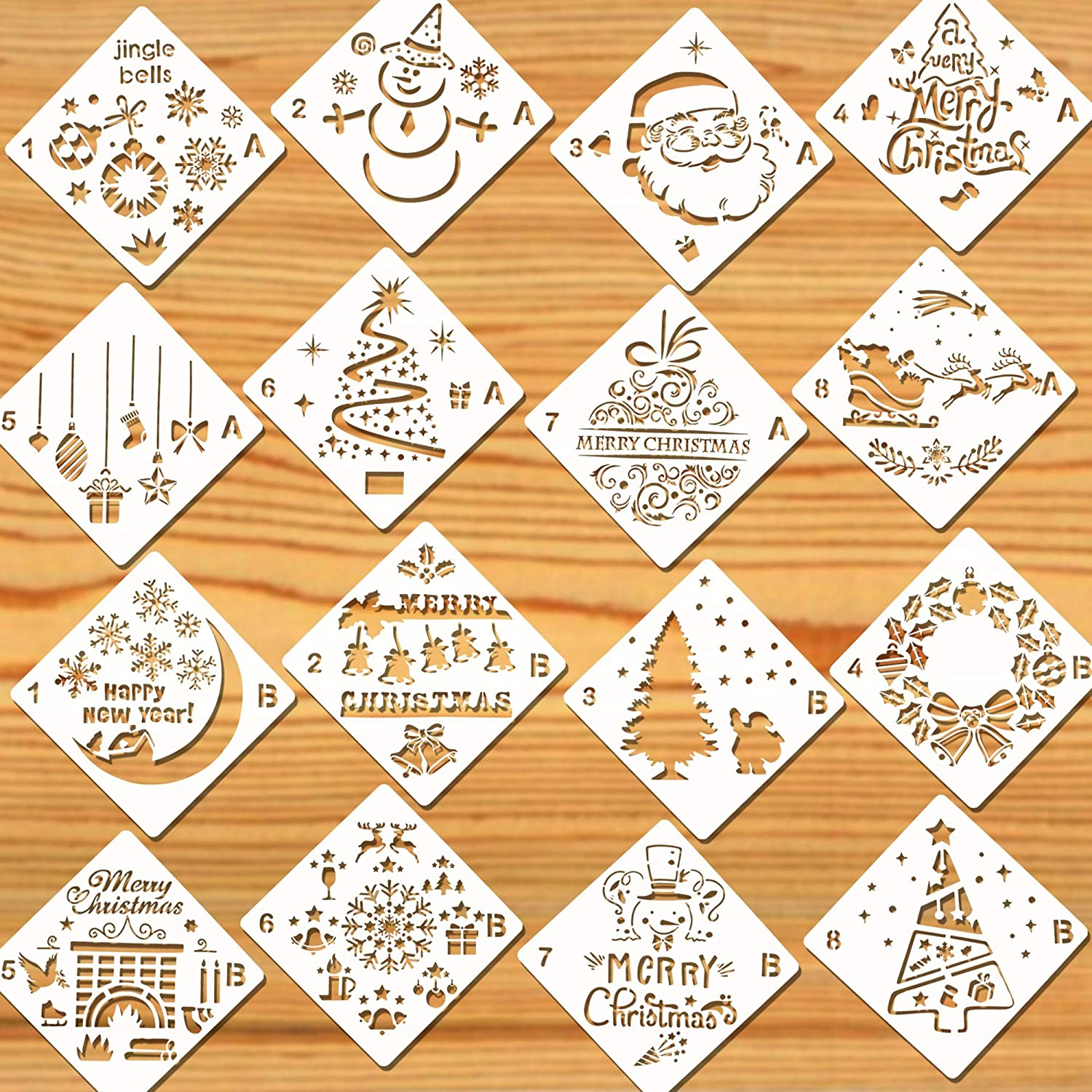Christmas Stencils For Wood.Konsait 16pack Christmas Stencils Templates Reusable Plastic Craft Drawing Painting Template Xmas Stencils For Greeting Cards Albums Scrapbook