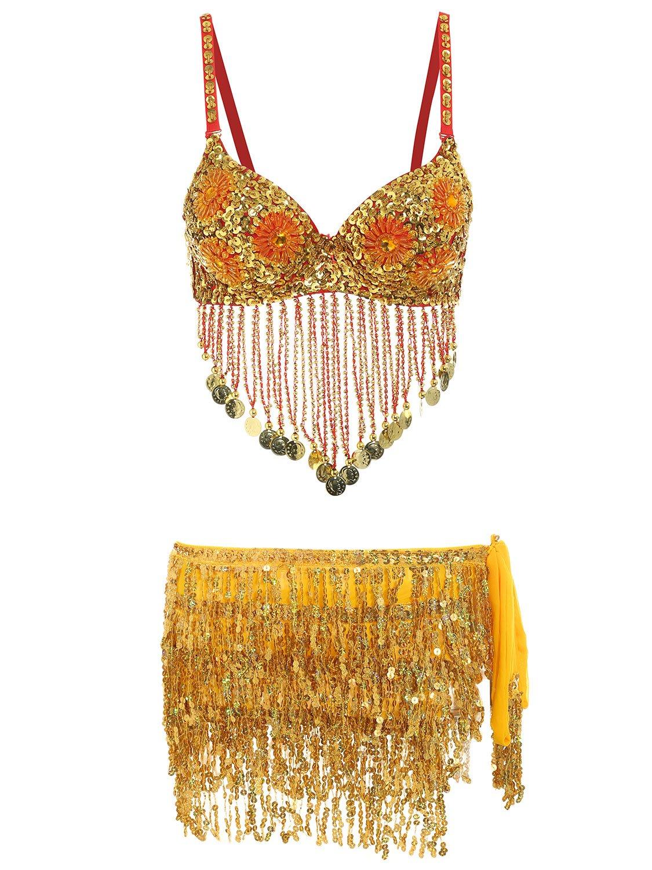 Glamaker Women's 2 Piece Rhinestone Belly Dance Bra Top Sequin Tassel Mini Skirts Set GAL01525B0