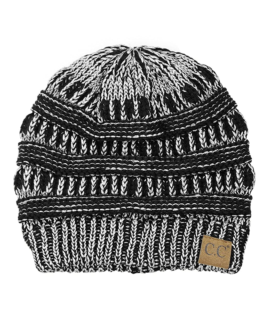 fc3869f9361 C.C Trendy Warm Chunky Soft Stretch Cable Knit Beanie Skully (2 Tone Black  Dark Beige) at Amazon Women s Clothing store