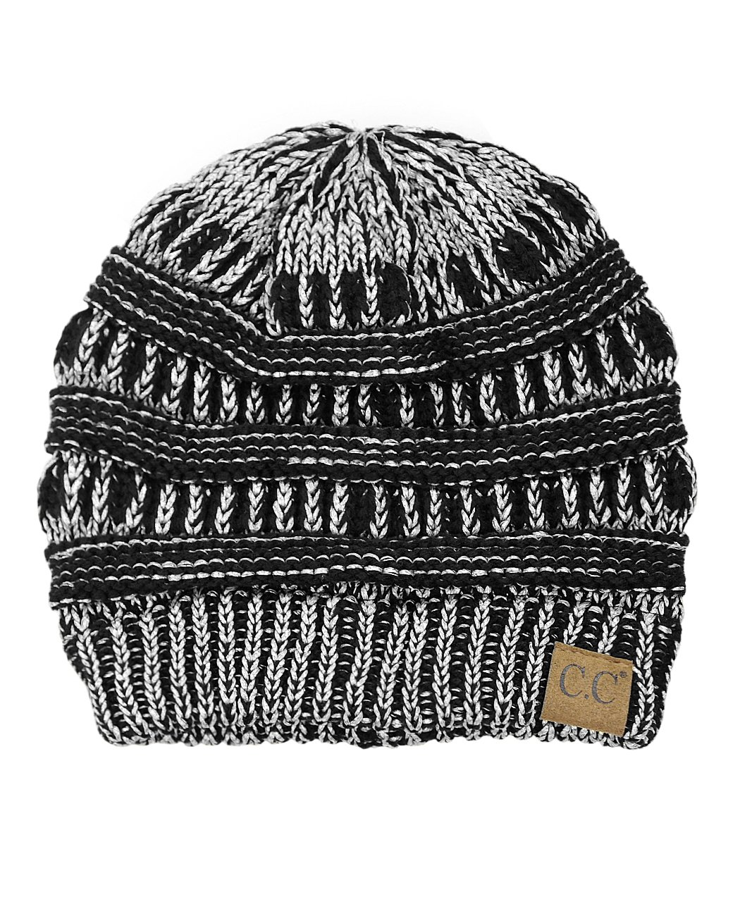 C.C Trendy Warm Chunky Soft Stretch Cable Knit Beanie Skully, Black/Met. Silver