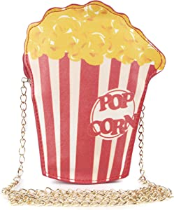 HXQ Popcorn Novelty Shoulder Bag Food Shape,PU Crossbody Purse for Girl Woman