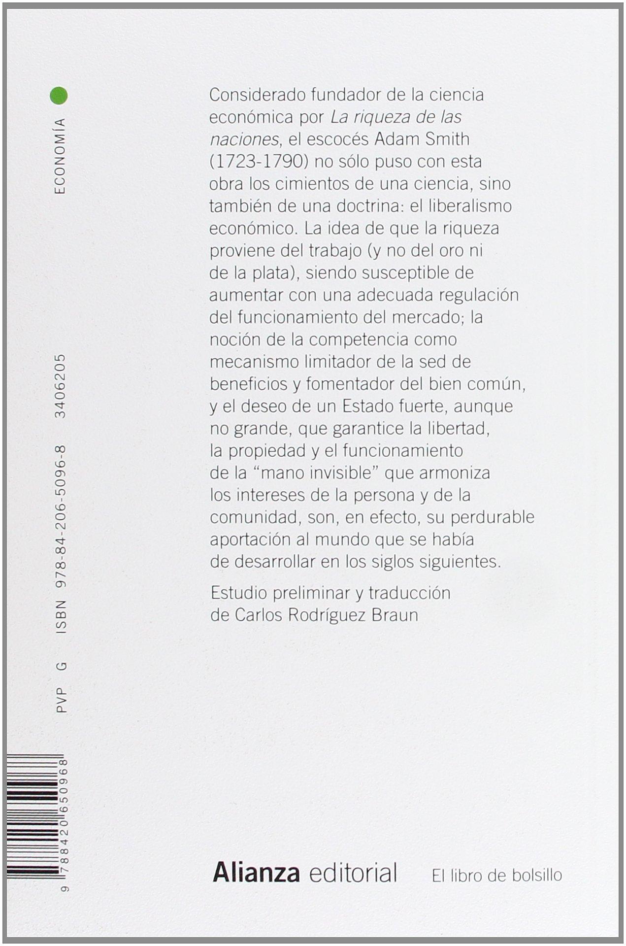 La riqueza de las naciones / An Inquiry Into the Nature and Causes of the  Wealth of Nations (Spanish Edition): Adam Smith, Carlos Rodriguez Braun: ...