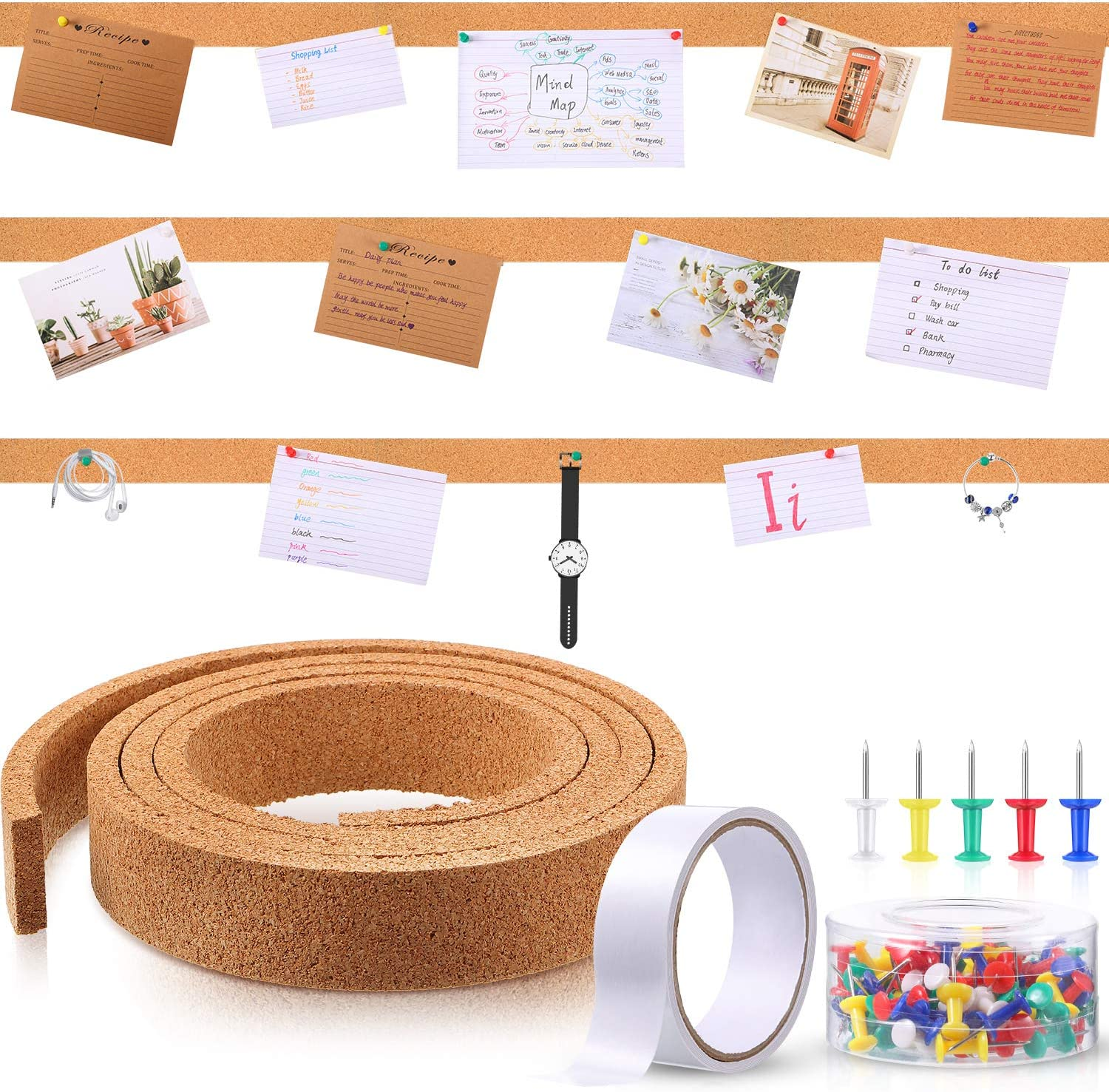 79 Inch Cork Strips Bulletin Bar Strips Frameless Cork Board Memo Strip with 1 Roll Double-Side Tape and 100 Multi-Color Map Thumb Tacks Pushpins in 1 Box for Office, School and Home