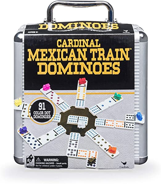 Amazon.com: Cardinal Industries Mexican Train Domino Game with Aluminum Case Game, Basic (6030756): Toys & Games
