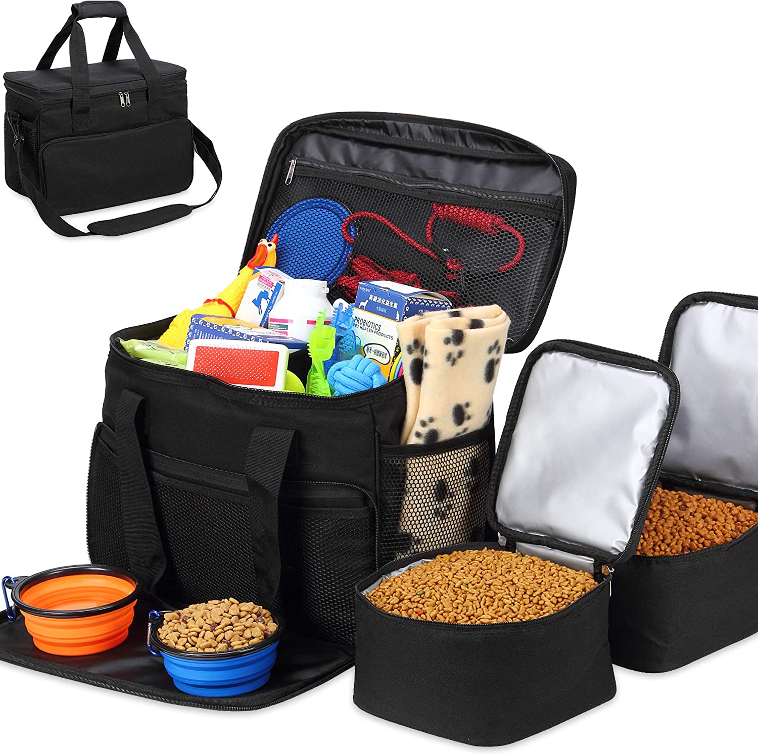 Kundu Cat & Dog Travel Bag - Includes 2 Food Carriers, 2 Bowls & Place Mat - Airline Approved - Black