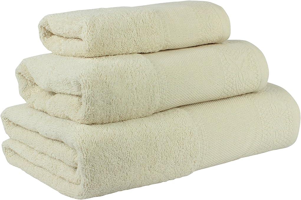 Flor de Algodón Panama Juego de 3 toallas algodón, BEIGE, 30x50 ...