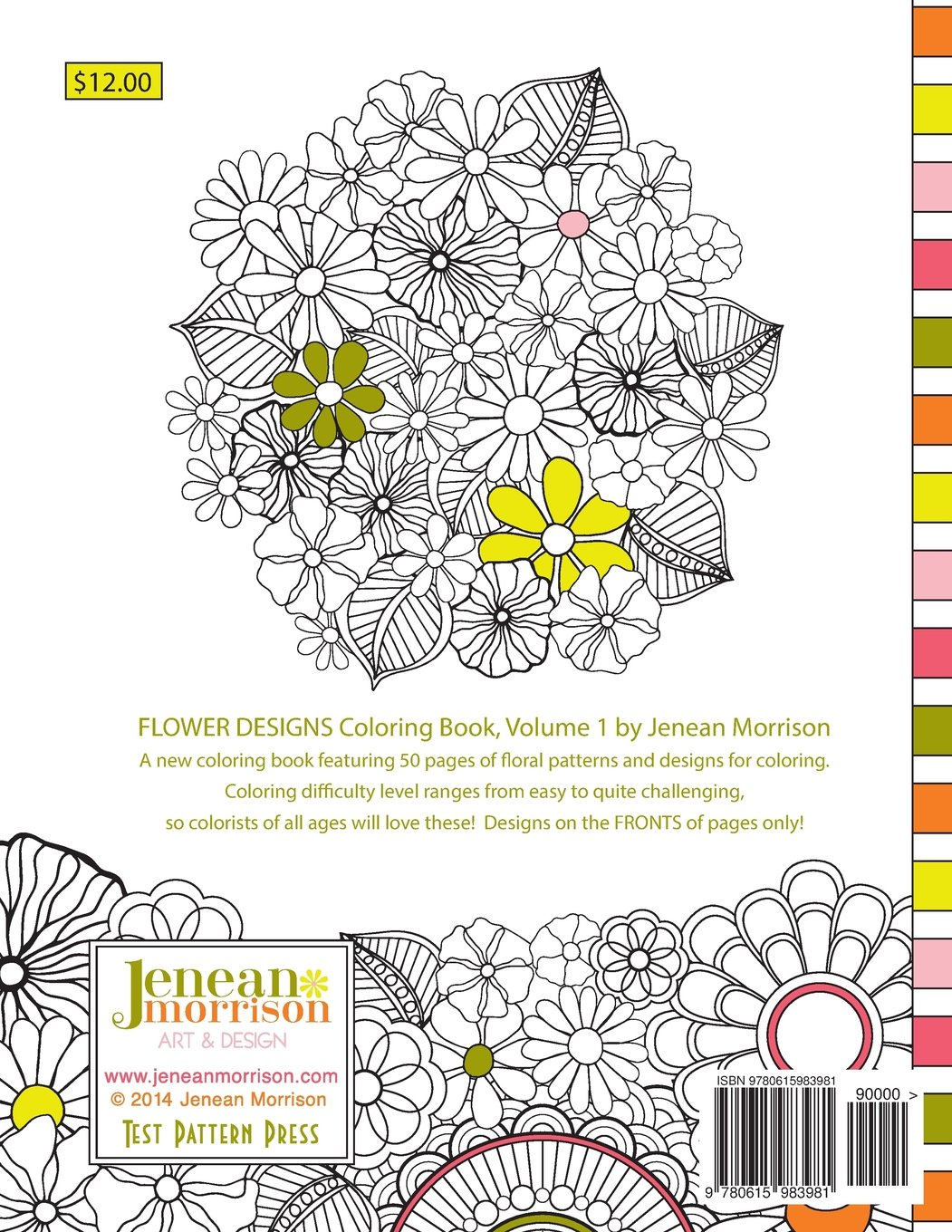 1 Flower Designs Coloring Book An Adult For Stress Relief Relaxation Meditation And Creativity Jenean Morrison Books