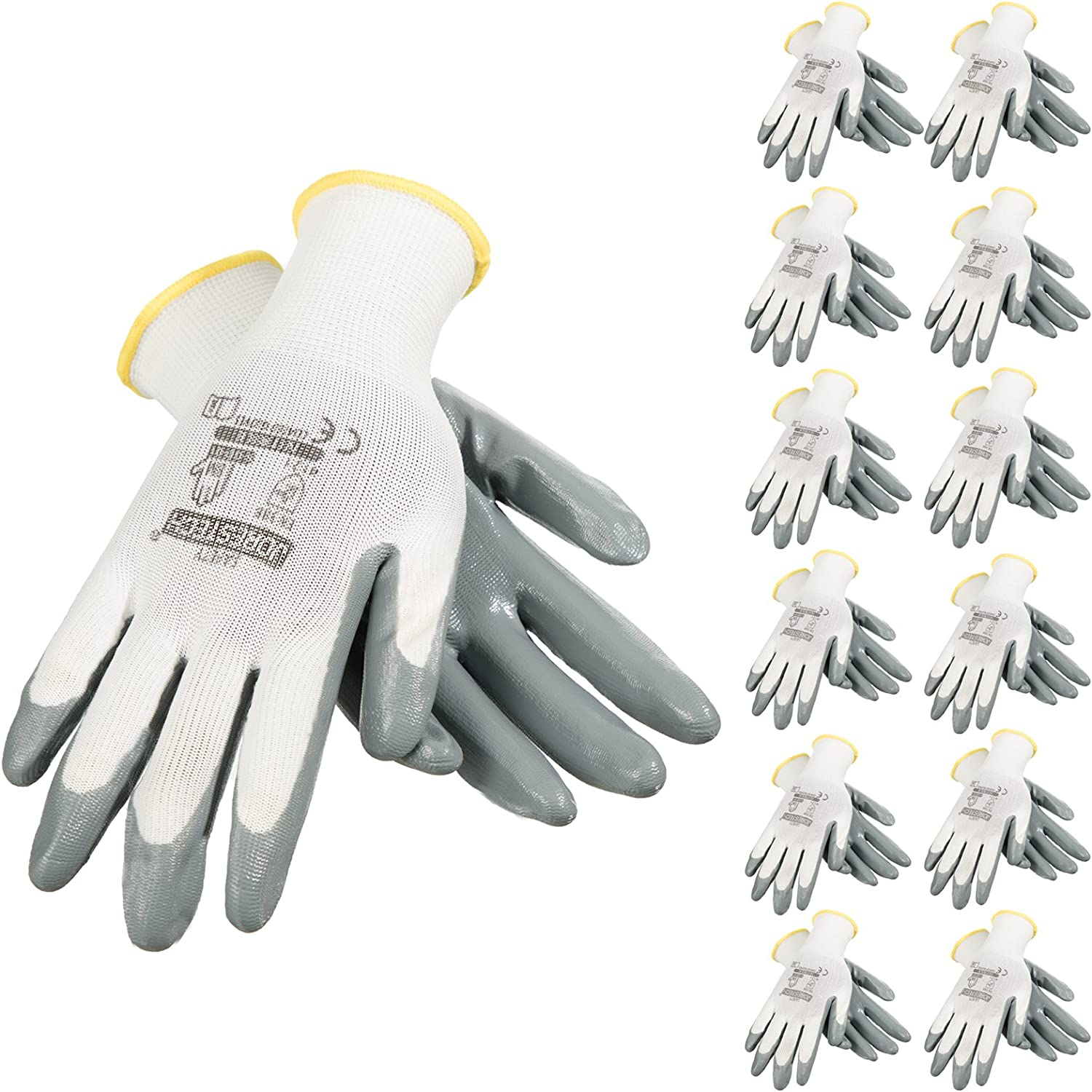 JORESTECH Safety Work Gloves White Polyester Knitted Fiber with Grey Nitrile Coating Pack of 12 GD-01 (Size 9-L)