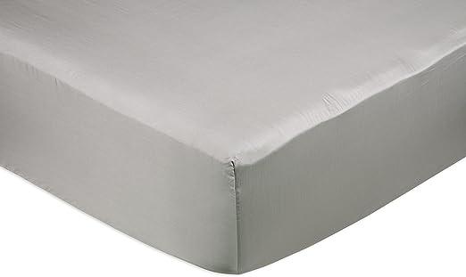AmazonBasics - Sábana bajera ajustable (algodón satén 400 hilos, antiarrugas) Gris - 180 x 200 x 30 cm: Amazon.es: Hogar
