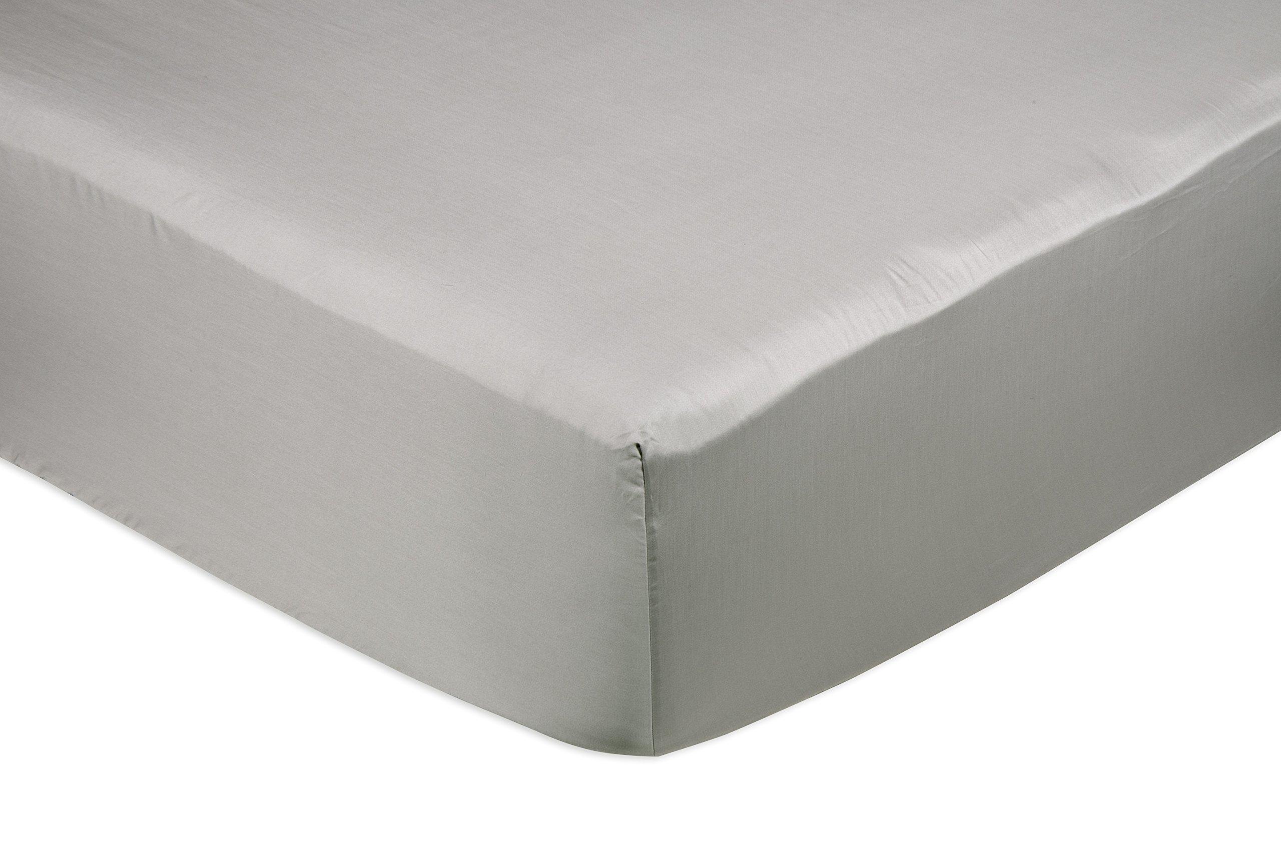 AmazonBasics - Sábana bajera ajustable (algodón satén 400 hilos, antiarrugas) Gris - 135