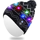 Light Up Beanie Hat,Qshell Stylish Unisex Men Women LED Knit Cap for Indoor and Outdoor, Walking, Skiing, Snowboard, Leisure, Celebration, Gaming, Holiday, Birthday, Parties, Bar, Christmas Gifts