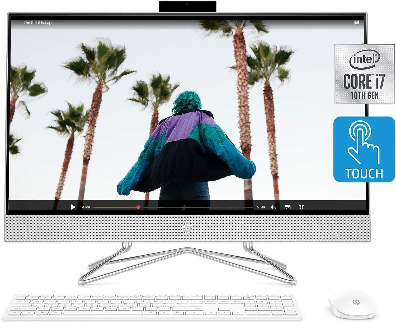 HP 27-inch Touchscreen All-in-One Desktop Computer, 10th Gen Intel Core i7-1065G7 Processor,16 GB RAM, 512 GB SSD, Windows 10 Home (27-dp0180, Silver)
