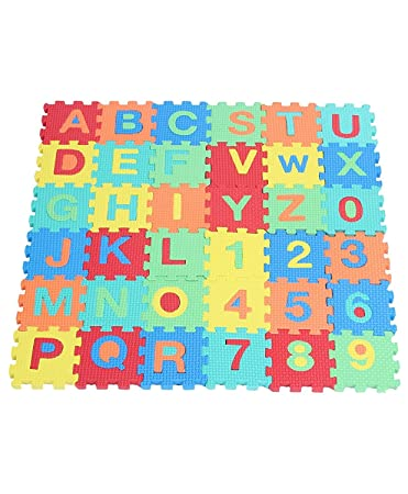 Alphabet Numerals Puzzle Play Mat, Kids Alphabet and Numbers Puzzle Mat, Multi Color (36 Pieces),Size-8x8