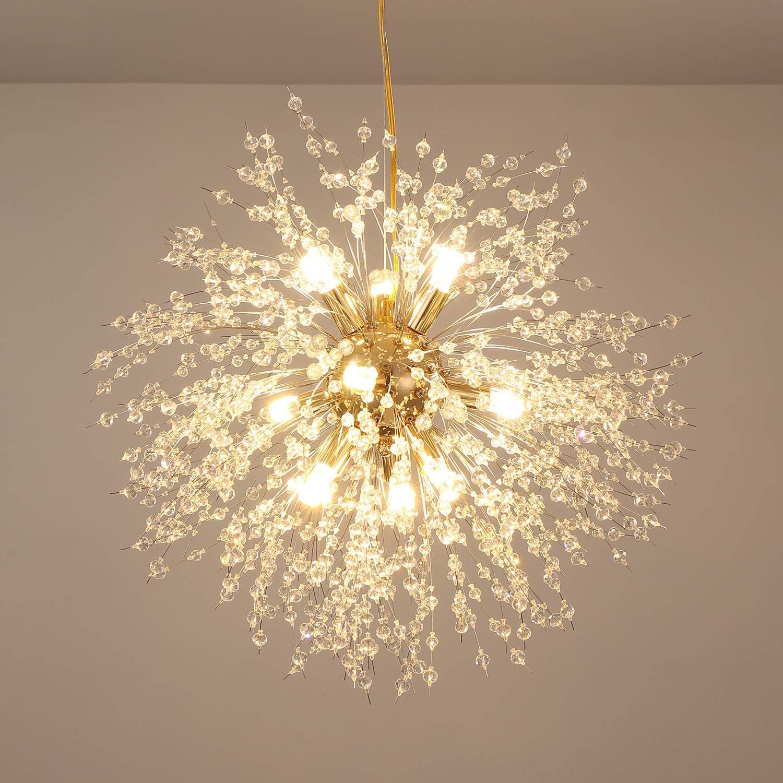 Bedroom Chandelier Light Fixtures,Modern Dandelion Gold Crystal Chandelier Fireworks Pendant Light for Bedroom Dining Room bar Restaurant 8 Lights