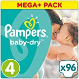 Pampers Baby Dry couches Taille 4(8–16kg), Mega Plus, 1er Pack (1x 96pièces)