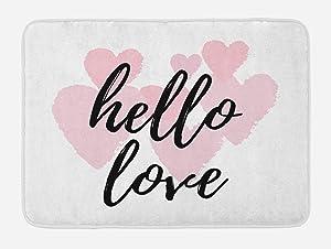 Ambesonne Hello Bath Mat, Hello Love Hand Lettering Print on Pink Hearts Inspirational Words Minimal Design, Plush Bathroom Decor Mat with Non Slip Backing, 29.5