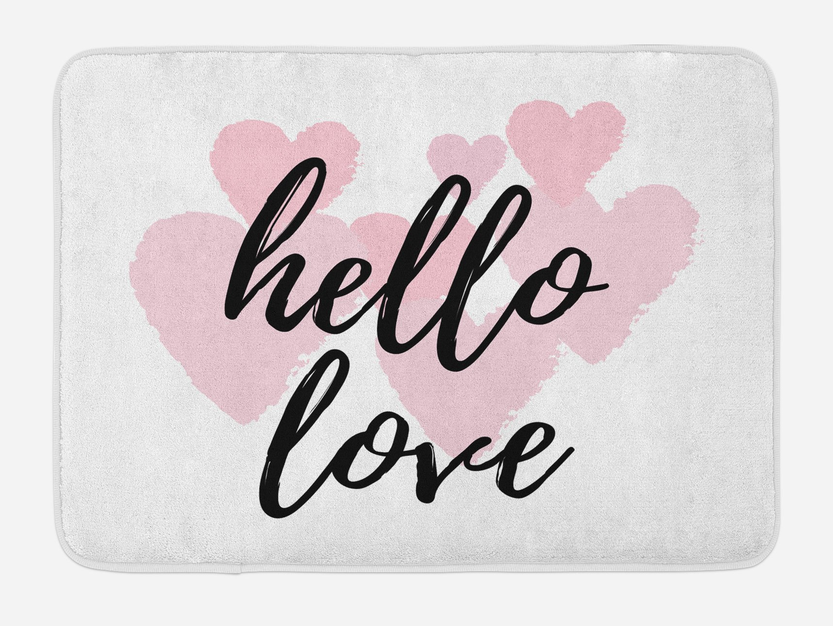 Ambesonne Hello Bath Mat, Hello Love Hand Lettering Print on Pink Hearts Inspirational Quotes Minimal Design, Plush Bathroom Decor Mat with Non Slip Backing, 29.5 W X 17.5 W Inches, Rose Black