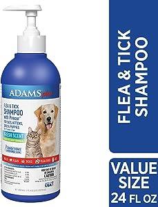 Adams Plus Flea & Tick Shampoo with Precor, 24-Ounce, Blue