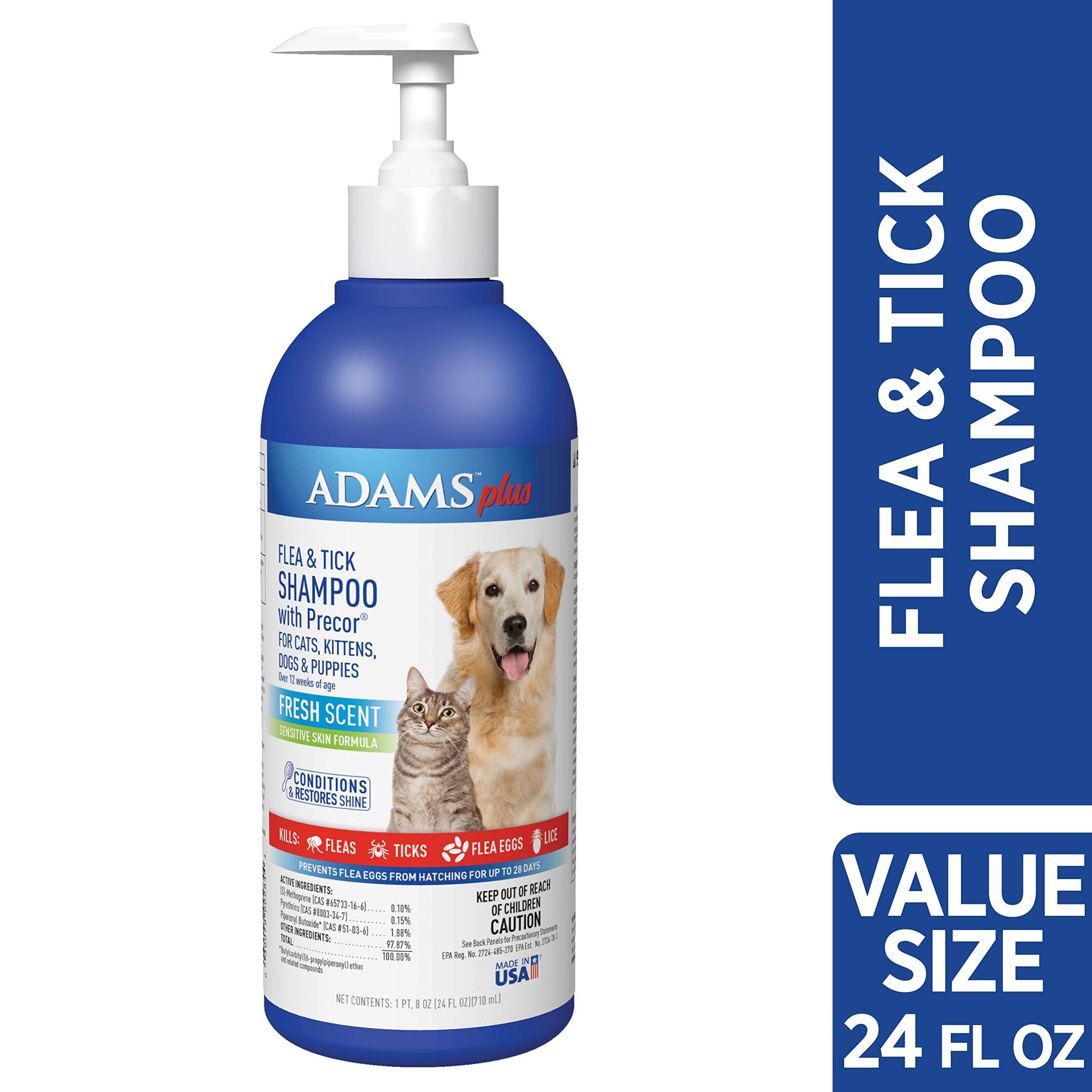 Adams Plus Flea & Tick Shampoo with Precor, 24-Ounce, Blue by Adams