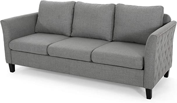Christopher Knight Home Betty Traditional Fabric Sofa, Gray, Dark Brown