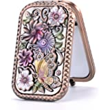 Nerien Women's Magnifying Vintage Foldable Metal Princess Style Butterfly Flower Russian Style Purse Mirror Portable Travel Mirror Copper