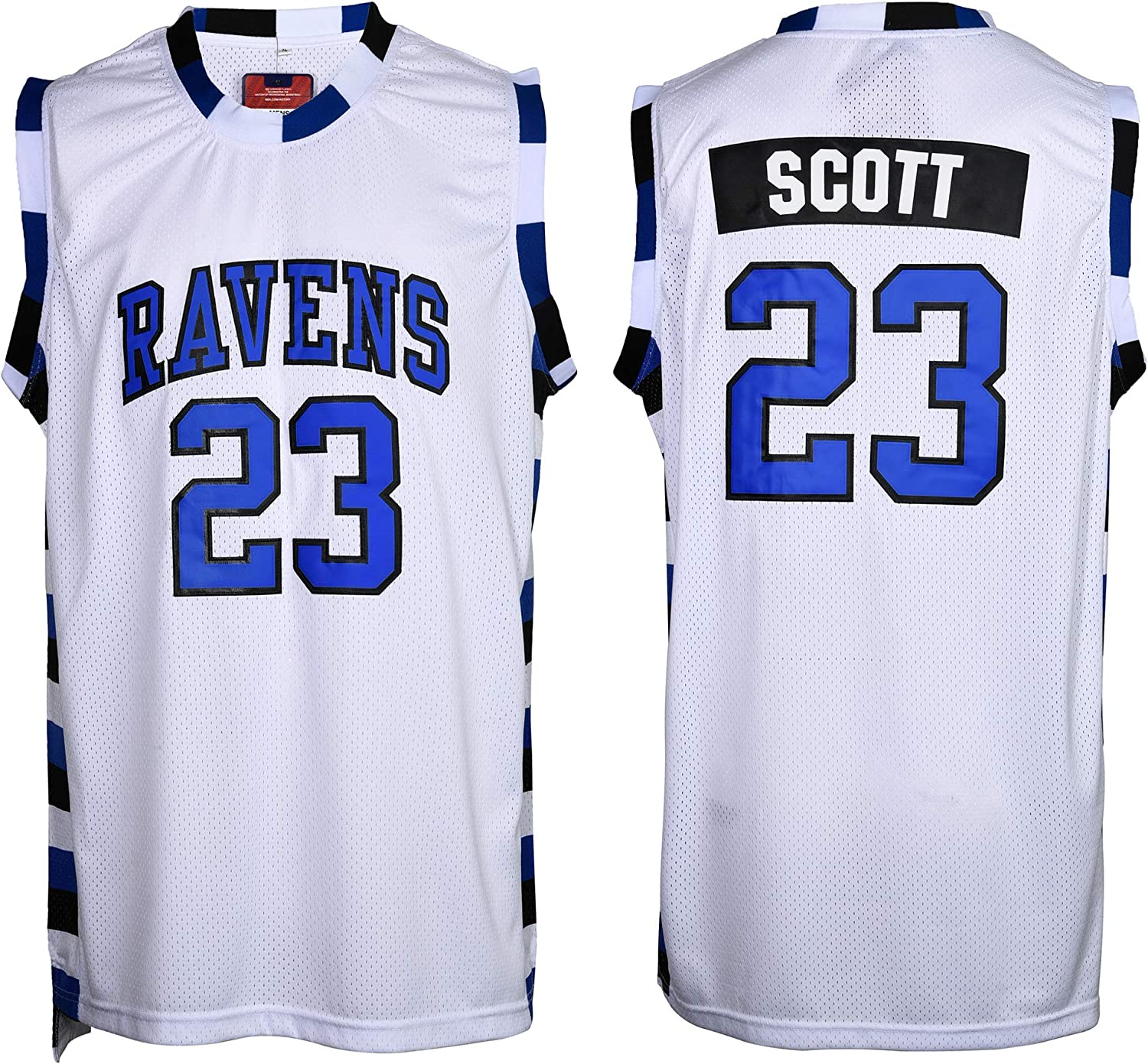 Mens Lucas Scott #23 Tree HIL Ravens Basketball Jersey ,Stitched Name and Numbers Sports Movie Jersey (White, Large)