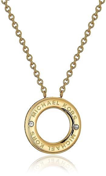 0333e688072e Michael Kors Iconic Haute Hardware Gold-Tone and Pave Logo Grommet Pendant  Necklace