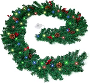 9ft Prelit Lighted Christmas Garland with Red Berries and Pine Cones, Battery Operated Colored Lights Timer Outdoor & Indoor Display