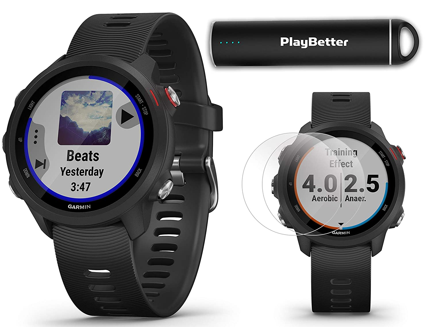 Garmin Forerunner 245 Music Black Running GPS Watch Power Bundle HD Screen Protectors PlayBetter Portable Charger Music Spotify, Advanced Analytics, Heart Rate, PulseOx 2019 010-02120-20