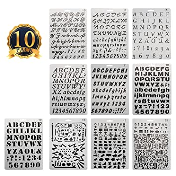 subang 10 pcs bullet journal stencil alphabet stencil letter stencil templates for painting and crafts