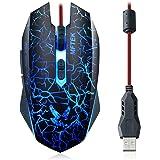 MFTEK LED ottici professionali USB Wired Gaming Mouse Gamer mouse regolabile DPI Switch Funzione per Pro Notebook Gioco PC del computer portatile (Nero)