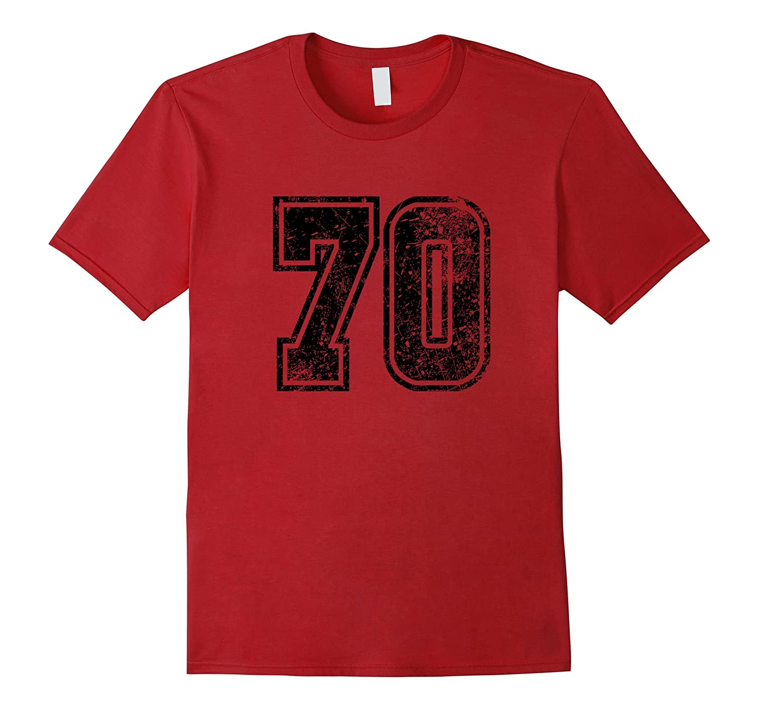 #70 Grungy Numbered Sports Team T-Shirts front print-Art