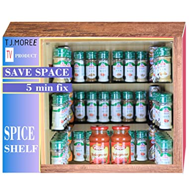 TJ.Moree Spice Rack - 2-Tier Invisible Metal Adjustable Adhesive Spice Self Rack Floating Spicy Jar Shelves Easy to Install for Cabinet Hold 40 Jars
