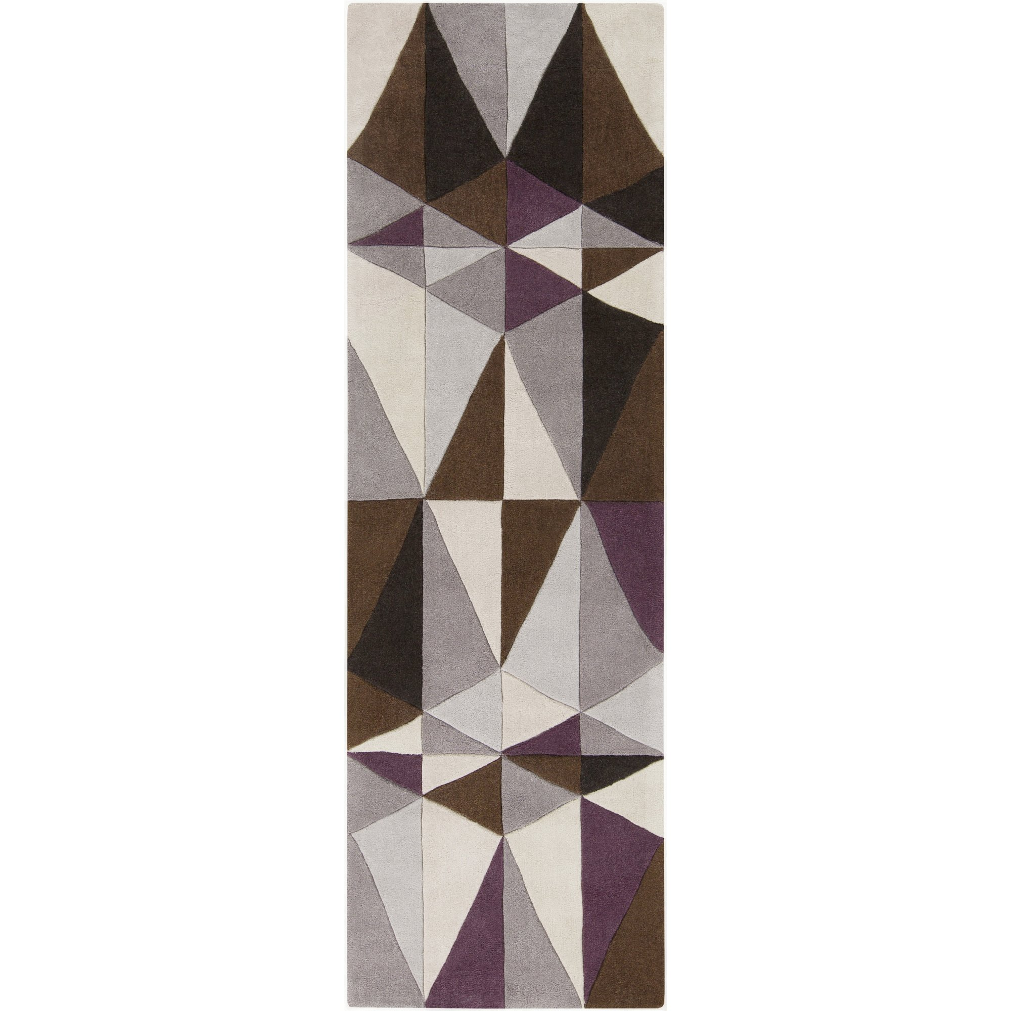 Surya Cosmopolitan COS-9171 Transitional Hand Tufted 100% Polyester Antique White 2'6'' x 8' Geometric Runner