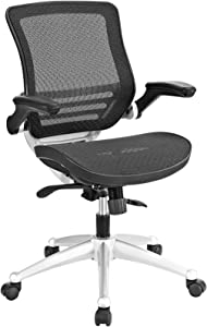 Modway Edge All Mesh Office Chair In Black With Flip-Up Arms - Perfect For Computer Desks