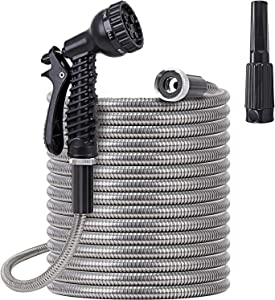 Metal Garden Hose 50 ft - Stainless Steel Water Hose with 2 Nozzles, Lightweight, Tangle Free & Kink Free, Heavy Duty, High Pressure, Flexible, Dog Proof