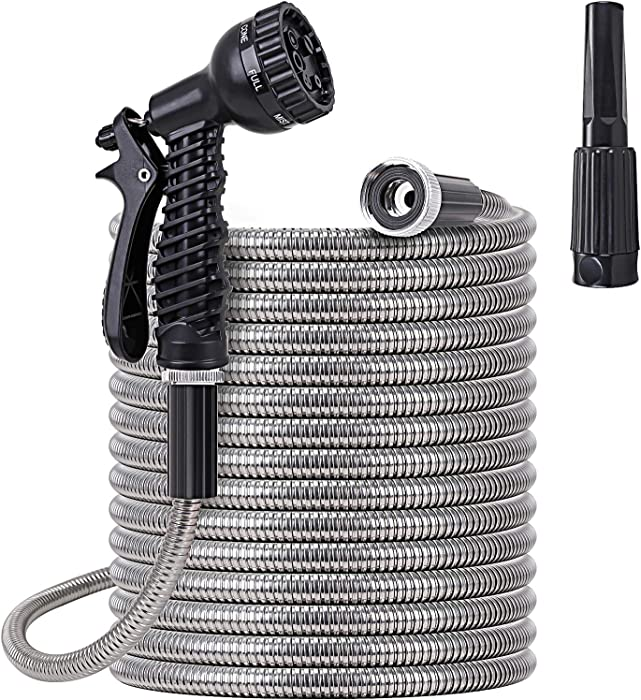 Metal Water Hose 100 ft - Stainless Steel Water Hose with 2 Nozzles, Lightweight, Tangle Free & Kink Free, Heavy Duty, High Pressure, Flexible, Dog Proof